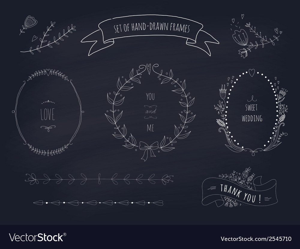 Hand drawn set of wedding wreaths and ribbons vector