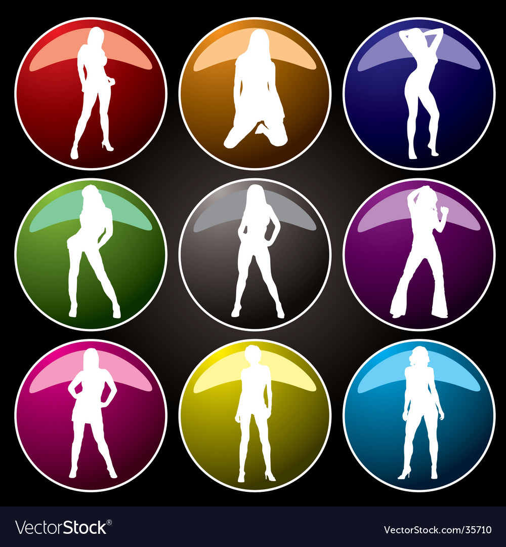 Sexy buttons coloured vector