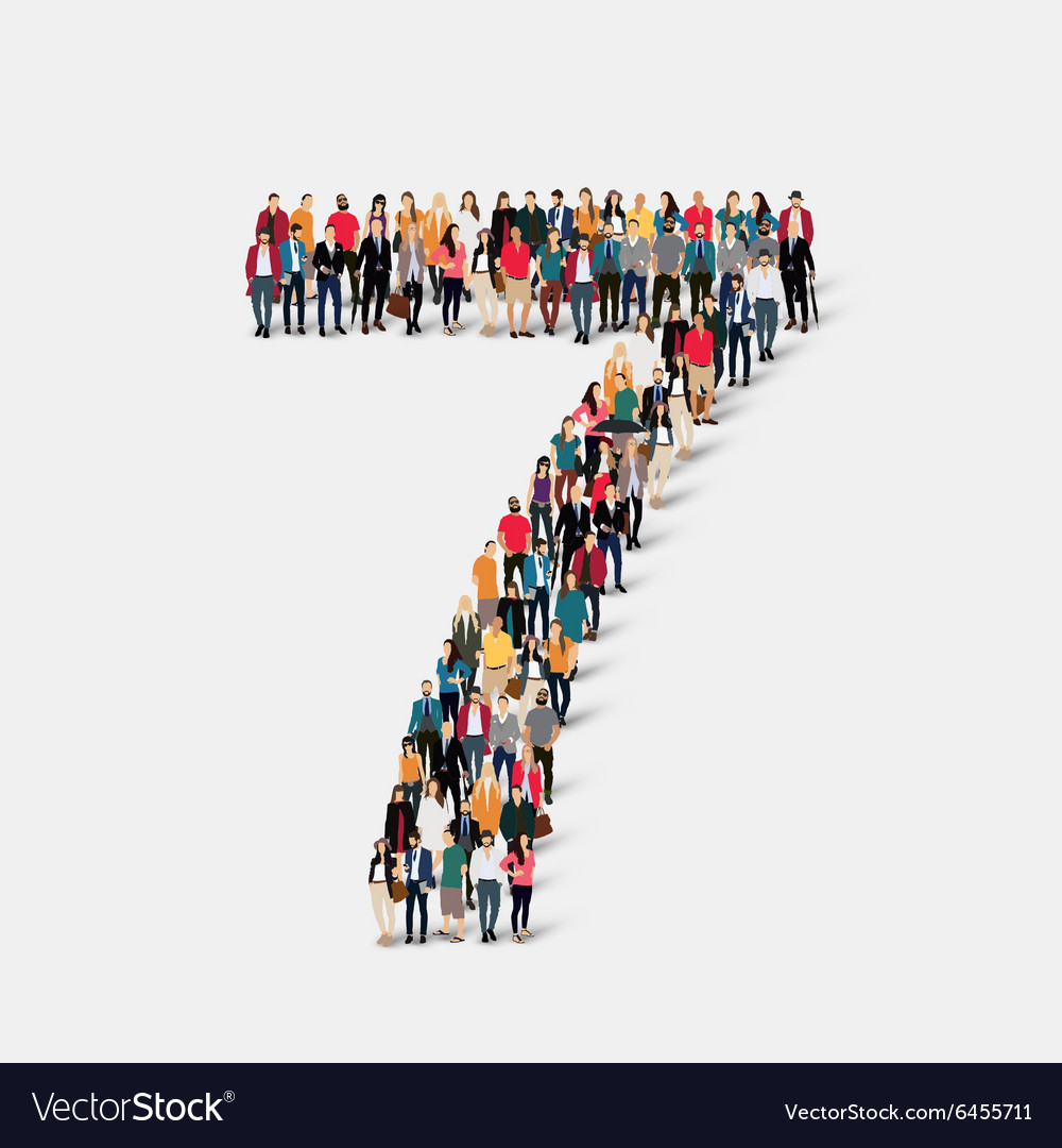 People form number seven vector