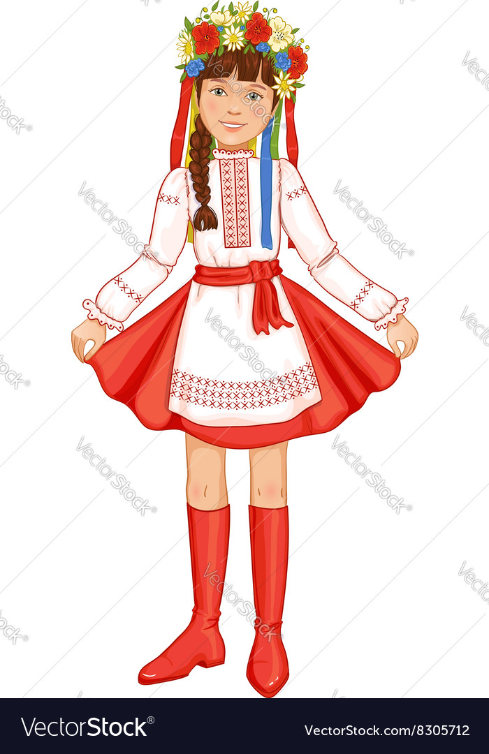 Cute girl in ukrainian traditional clothes vector