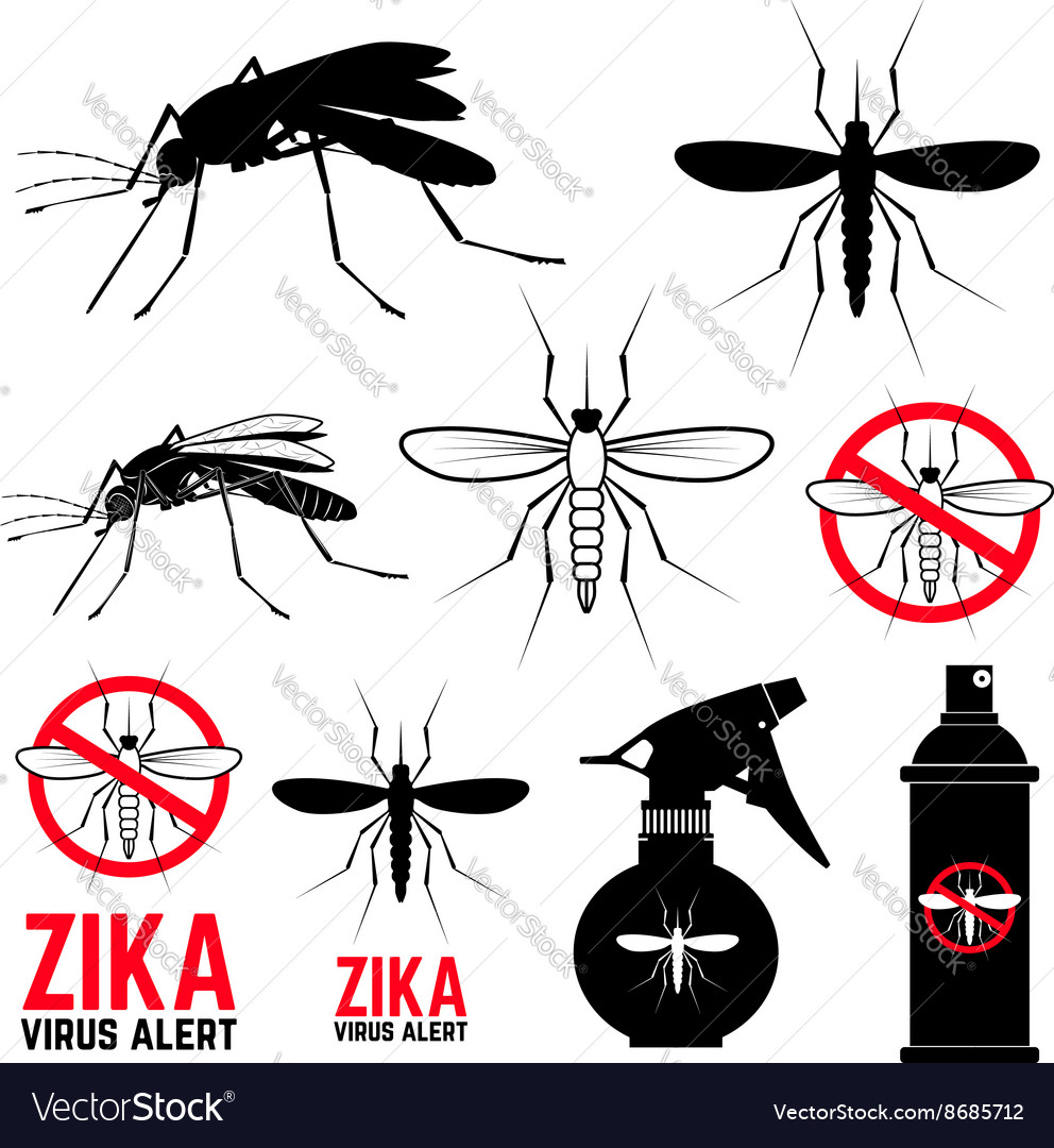 Set of mosquito icons zika virus alert vector
