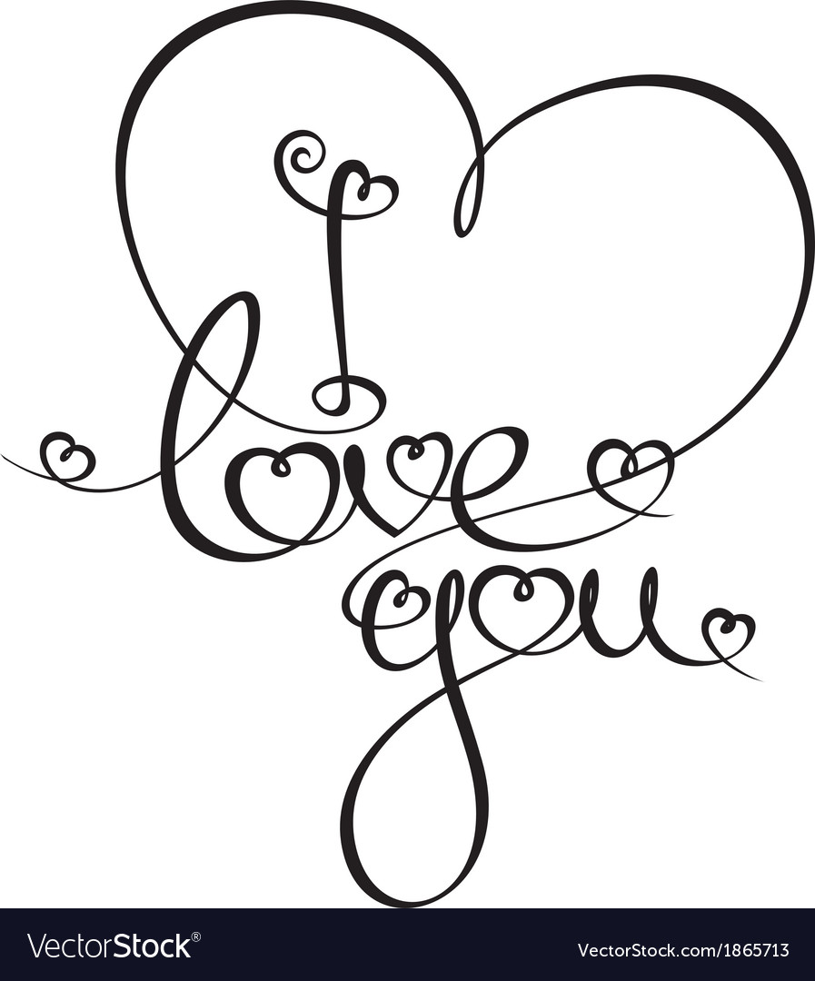 Caligraphic text i love you vector