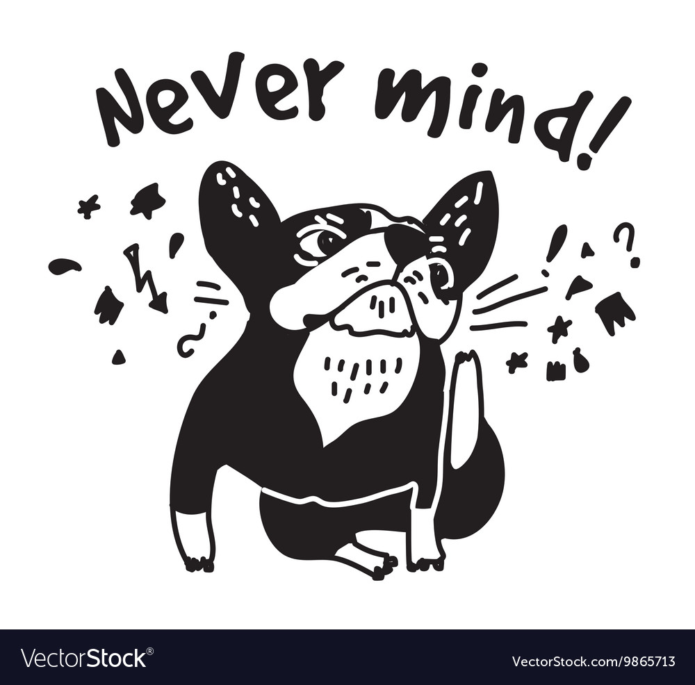 French bulldog scratch head and sign fun cute vector