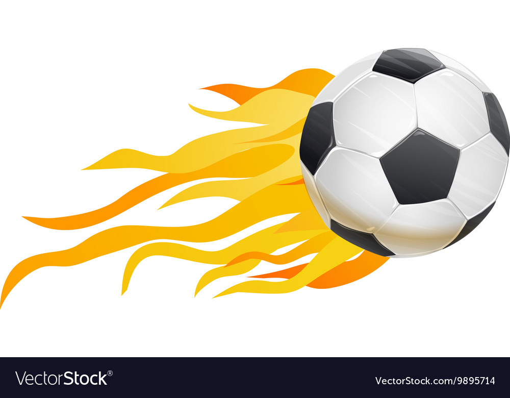 Soccer ball and fire flames vector