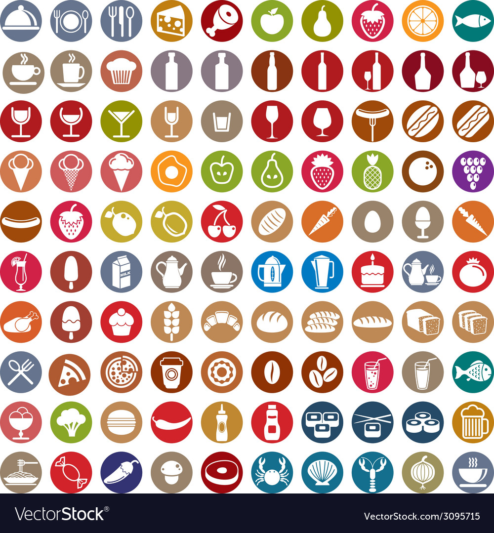 100 food and drink icons set vector
