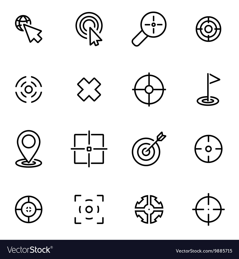 Line target icon set vector