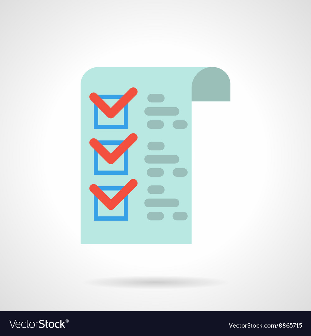 Medicines checklist flat color icon vector