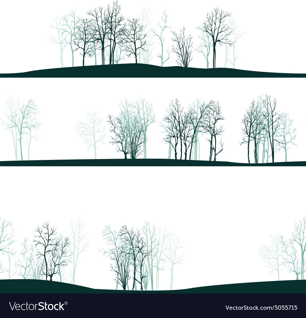 Seamless pattern with winter trees vector