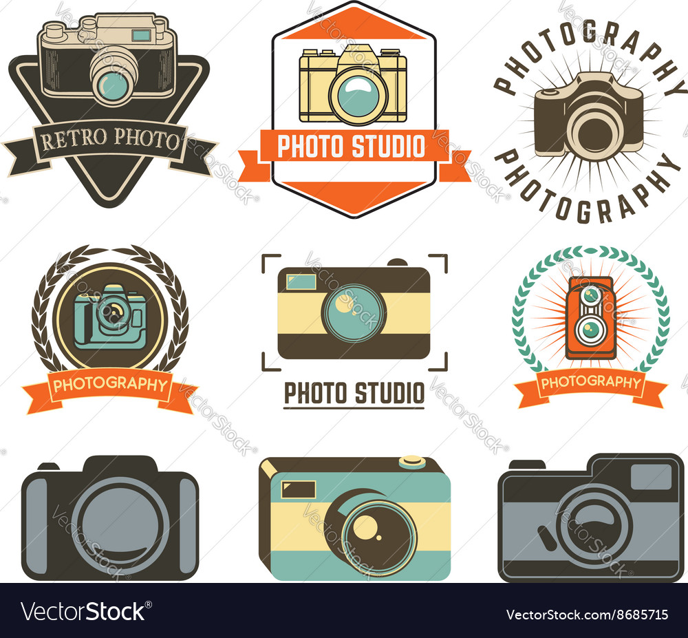 Set of photo studio labels vector