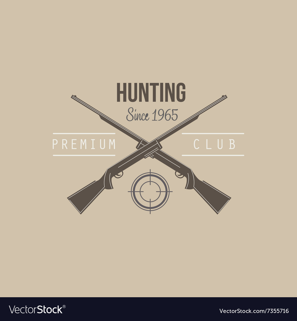 Hunting vintage emblem with guns and dog vector