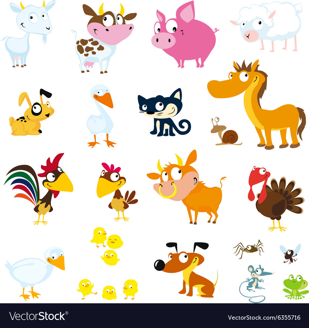 Set of simple images of farm animals  vector