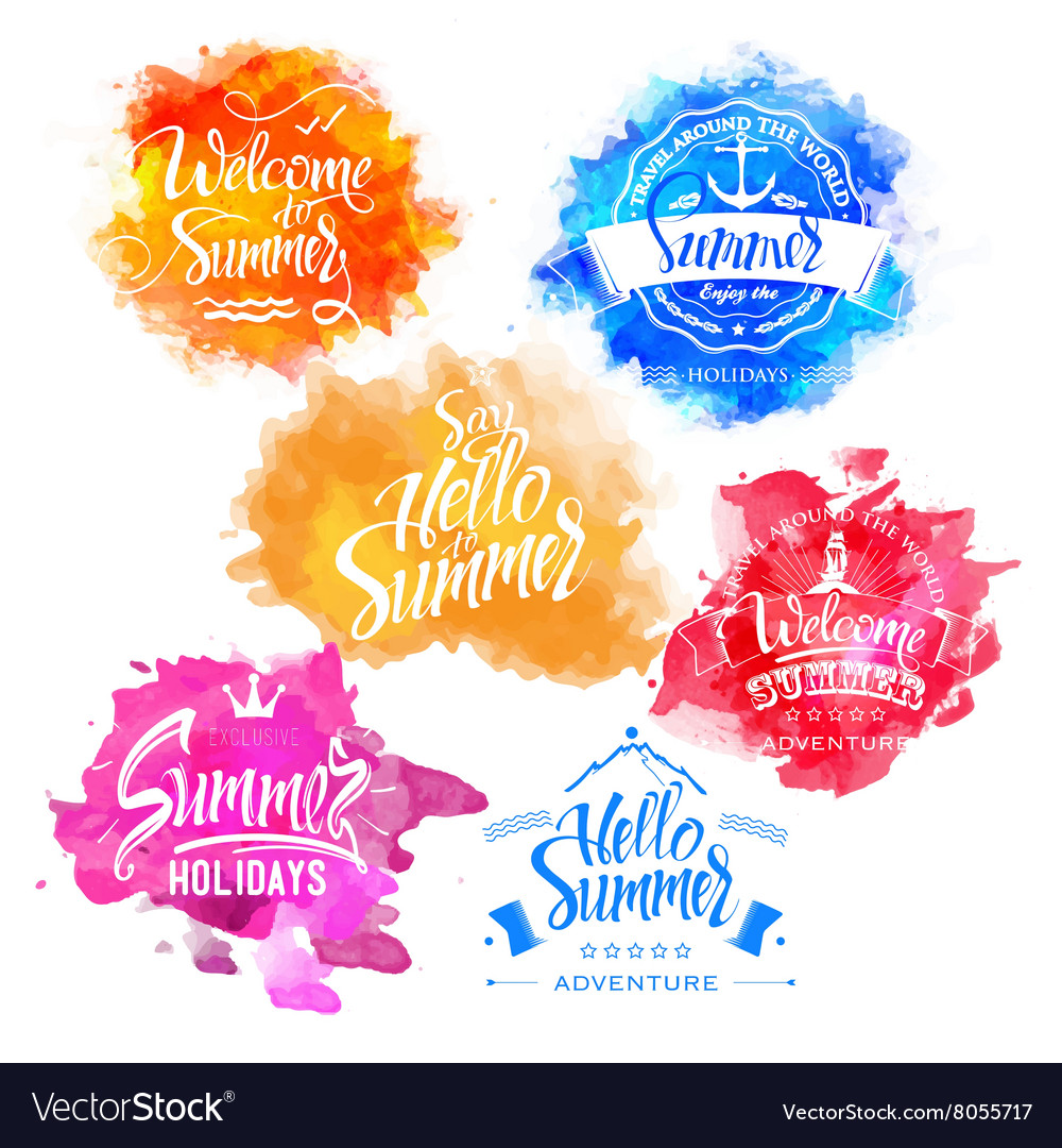 Collection of summer and holidays labels vector