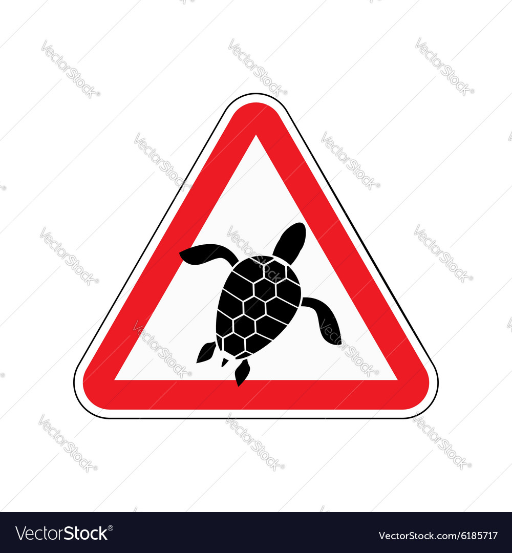 Danger sign turtle attention here live marine vector