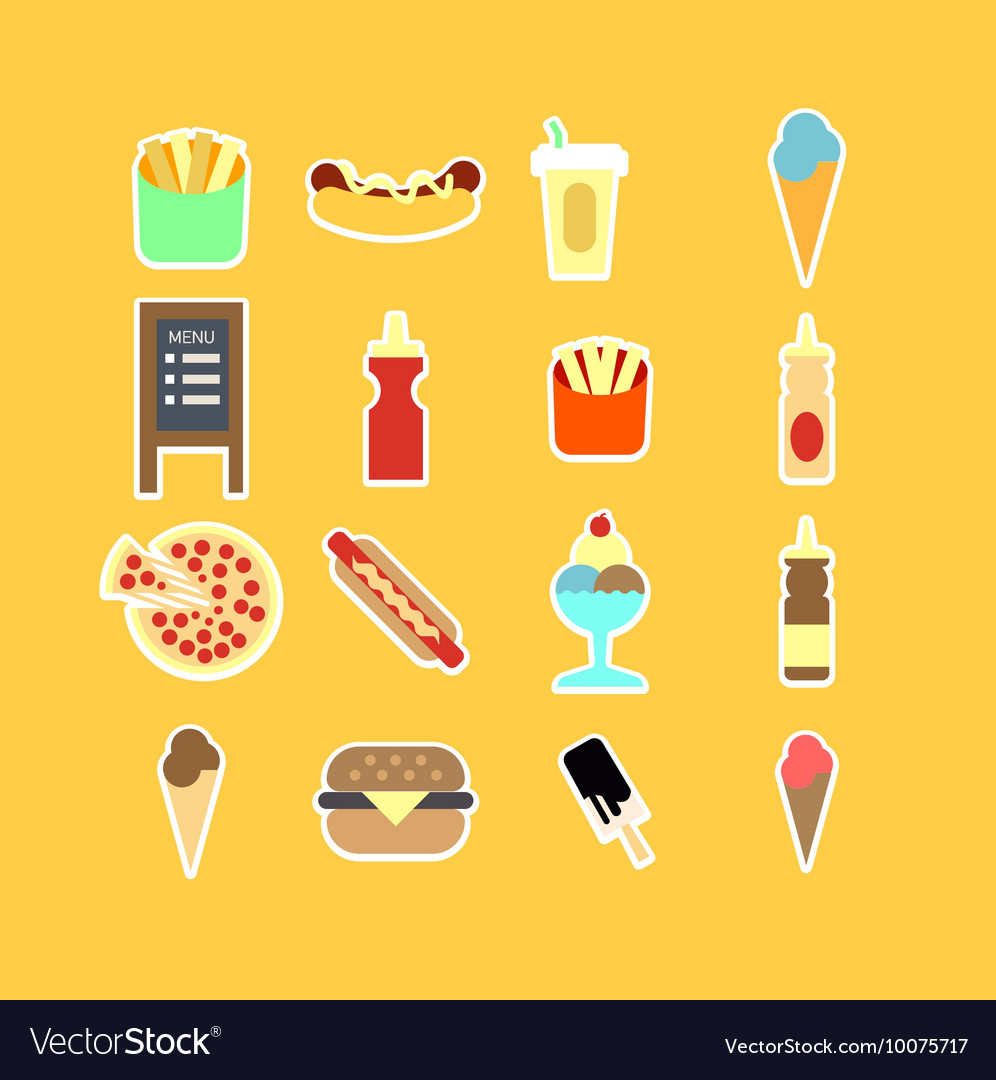 Fastfood flat icon set vector