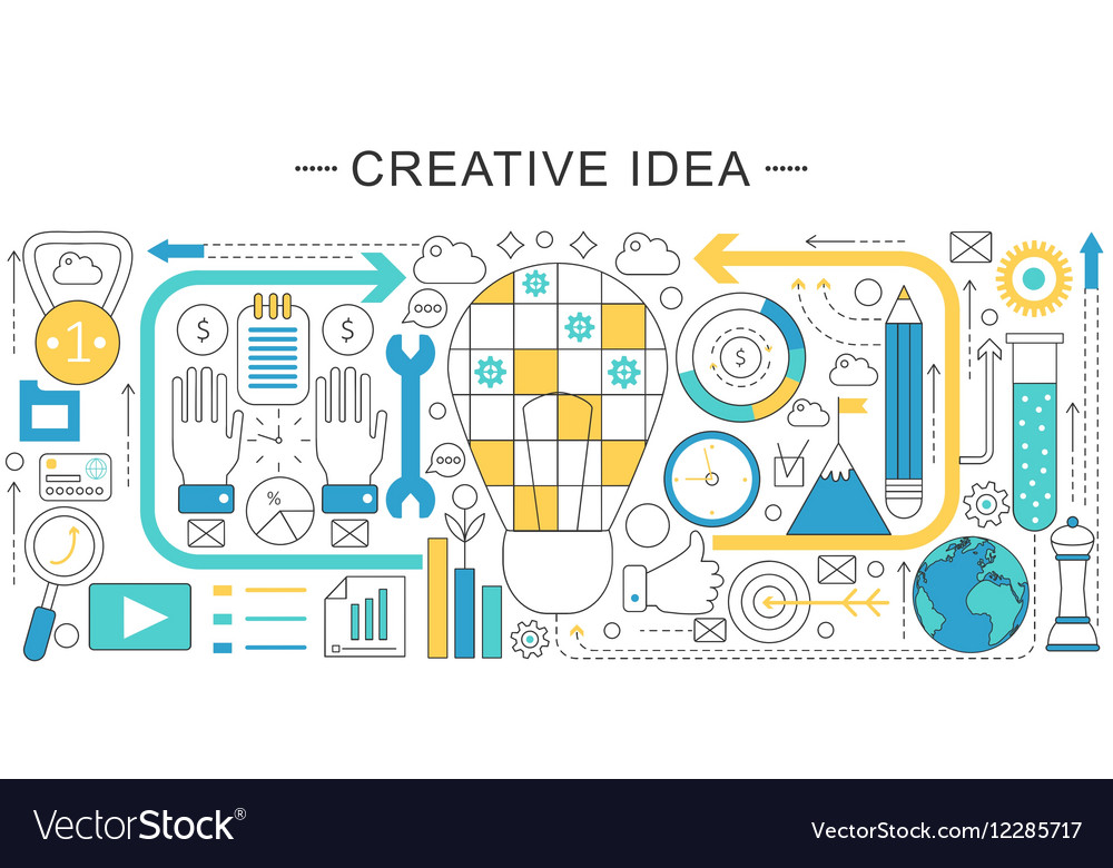 Modern line flat creative idea sales vector