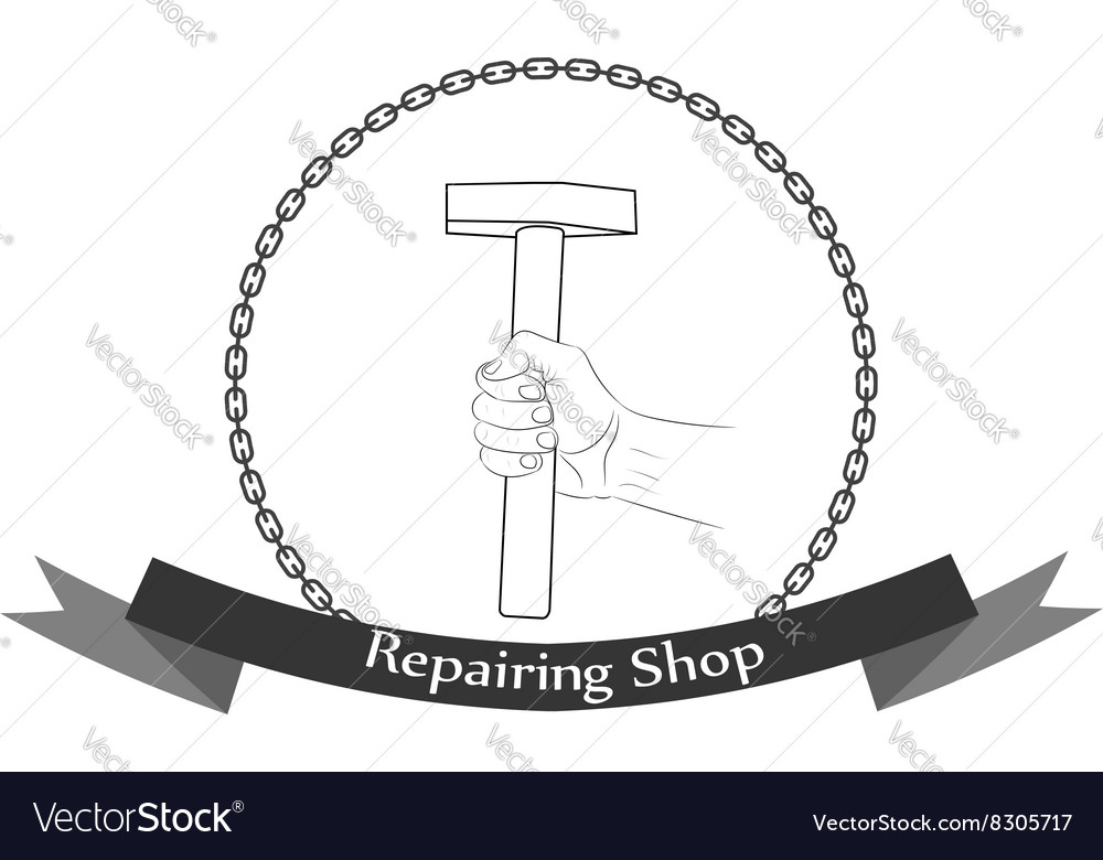Repair workshop hand with a hammer logo vector