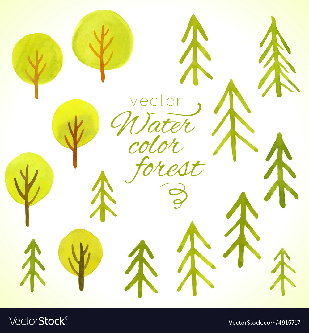 Watercolor trees set template for your design vector