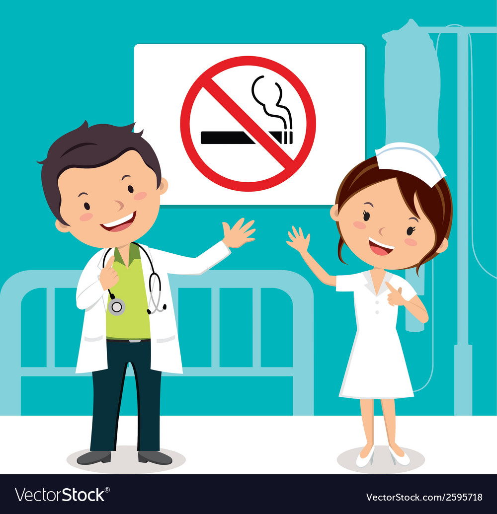 Doctor and nurse with nonsmoking sign vector