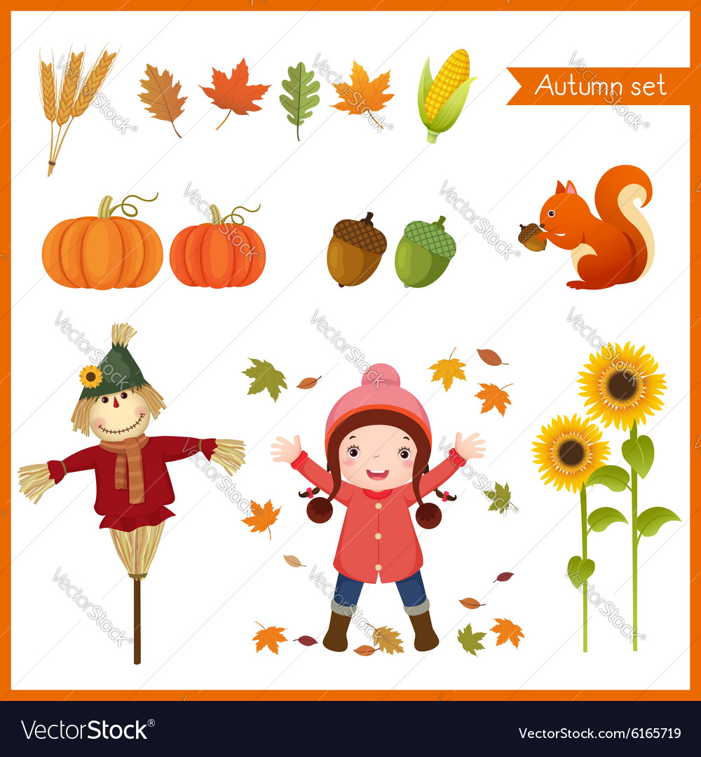 Cute girl and collection for autumn vector