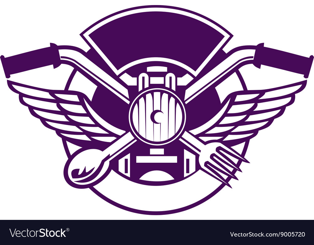 Crossed spoon and fork handlebar headlamp circle vector