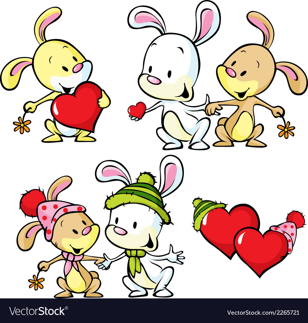 Cute bunnies isolated on white background vector