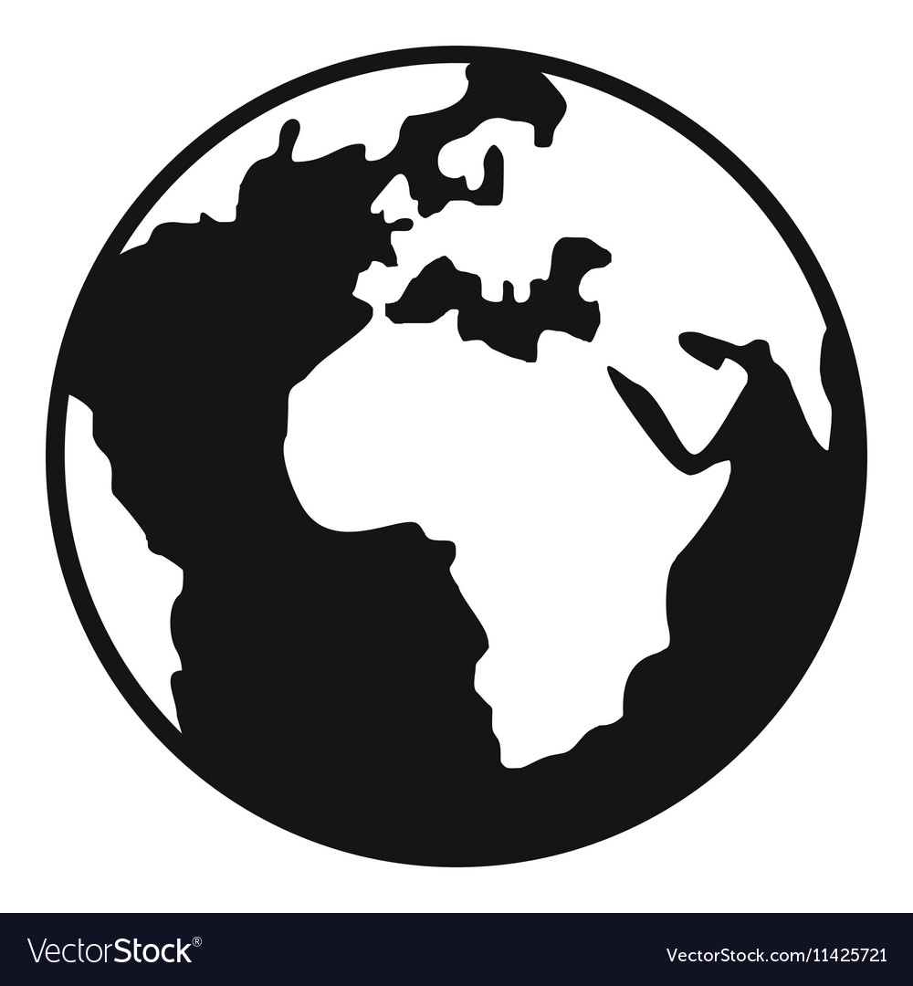 Earth globe icon simple style vector