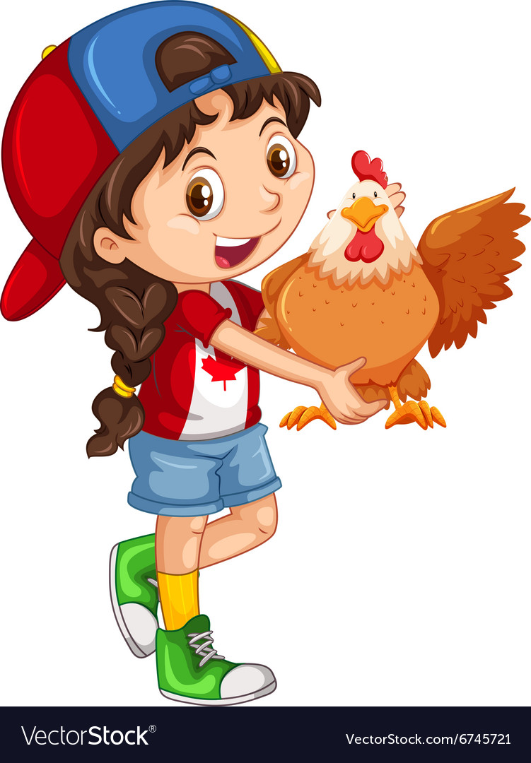 Little girl holding a chicken vector