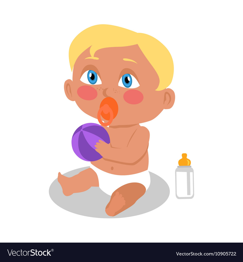 Baby sitting on the floor with a ball vector