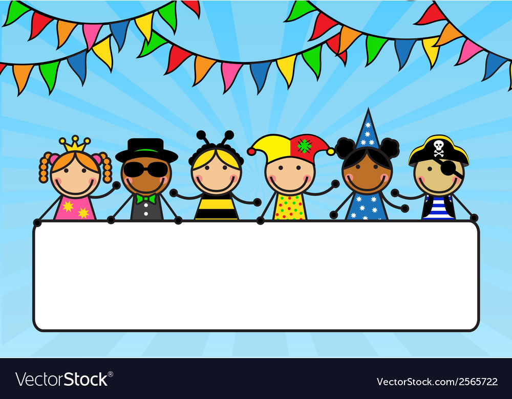 Cartoon children in carnival costumes hold a poste vector