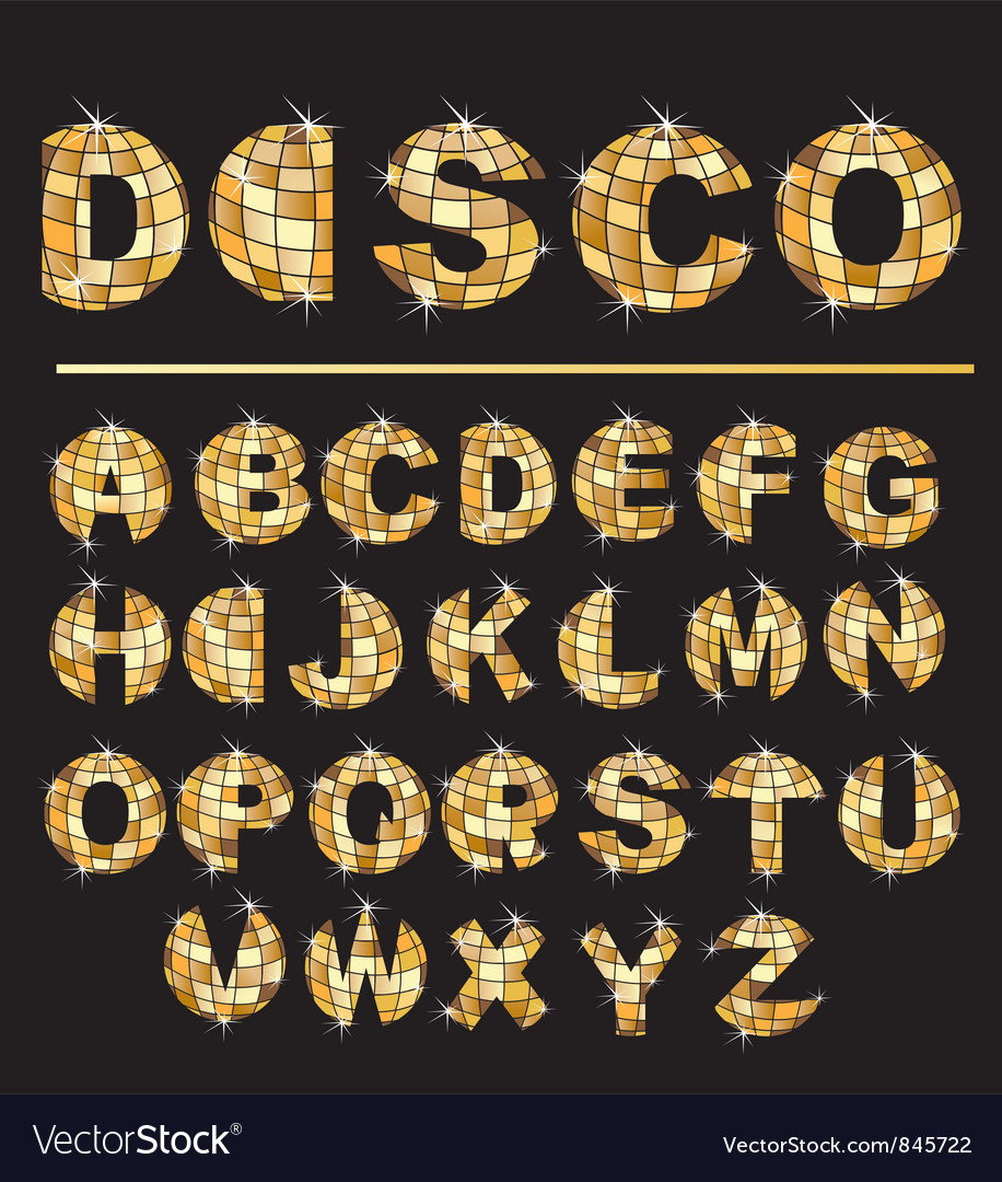 Gold disco ball letters vector
