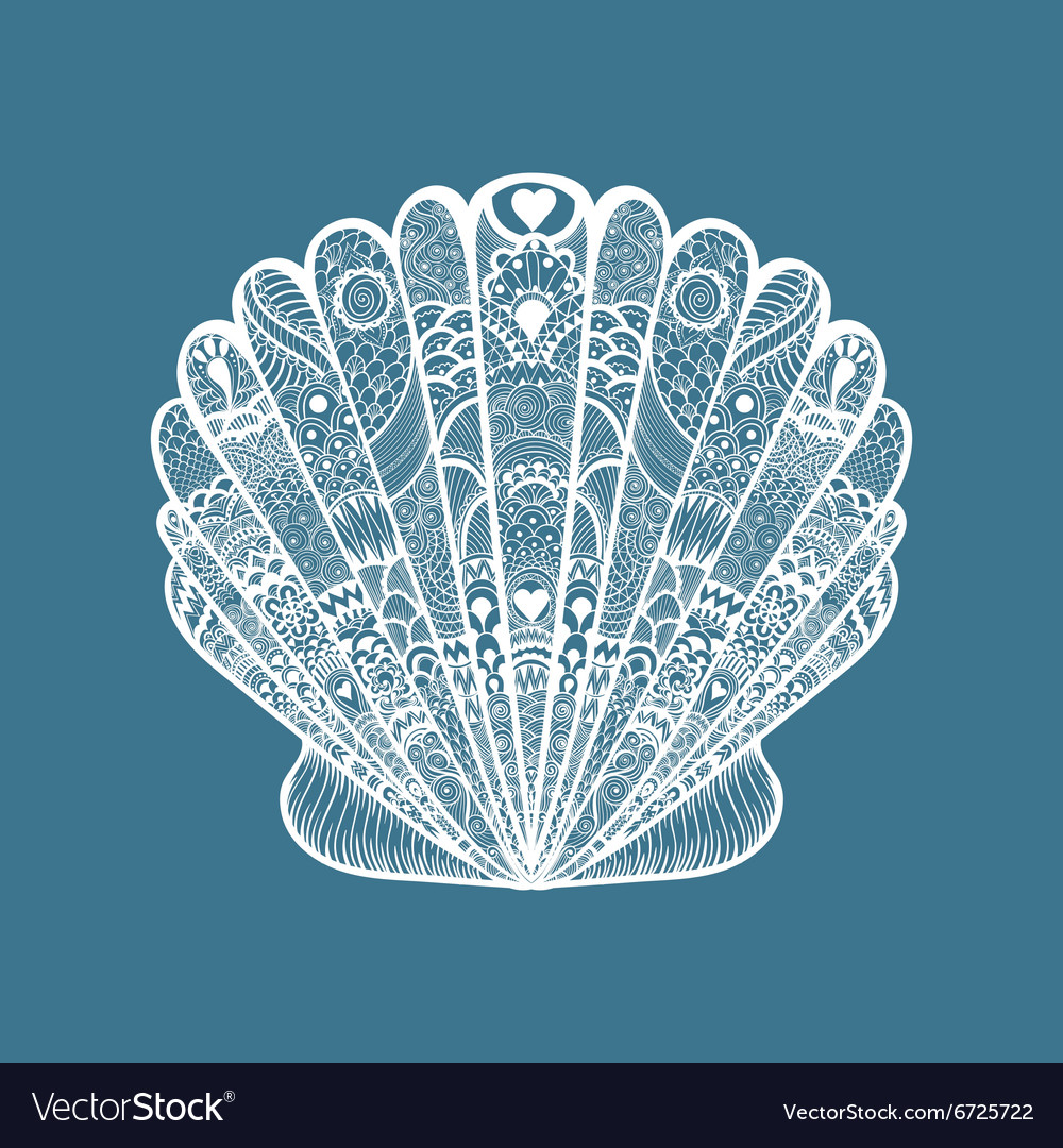 Zentangle stylized white sea shell hand drawn vector