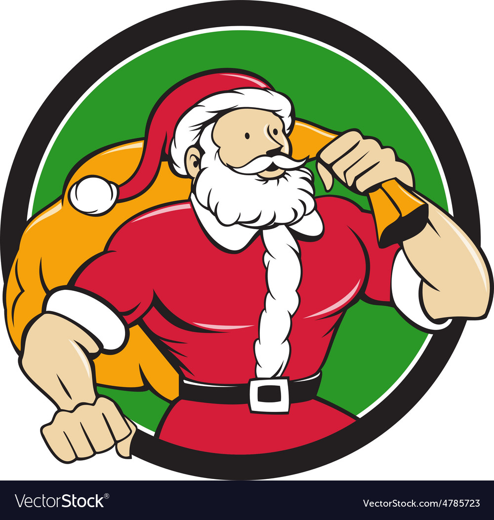 Super santa claus carrying sack circle cartoon vector
