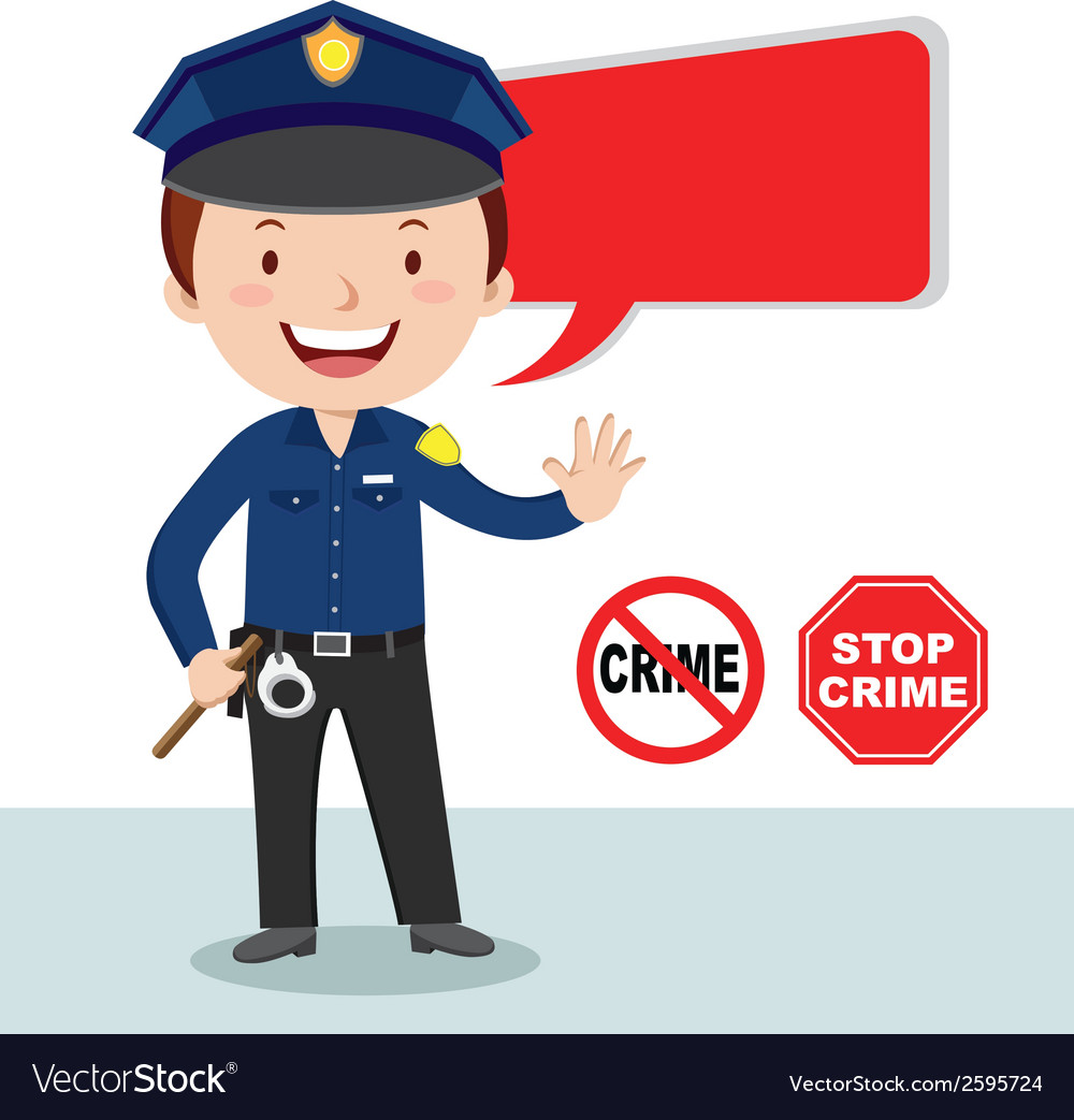 Cartoon police officer policeman stop crime vector