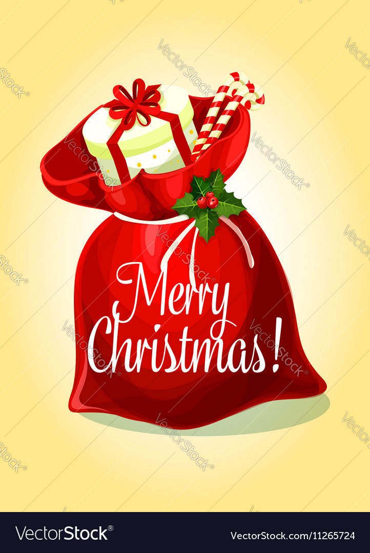 Christmas greeting card with santas gift bag vector