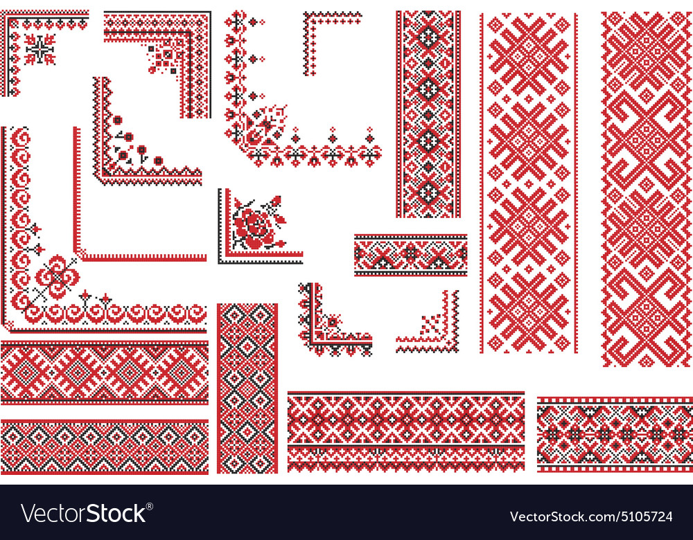 Red and black patterns for embroidery stitch vector