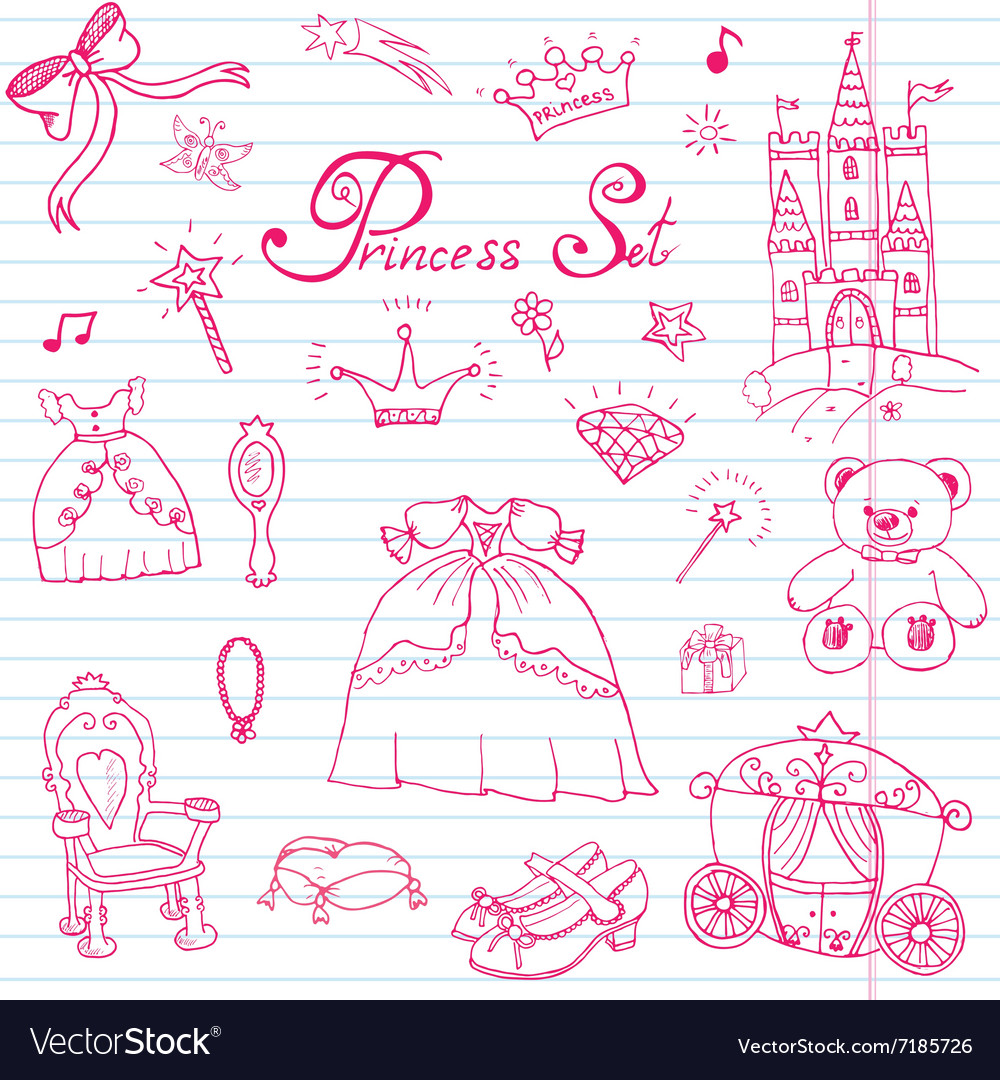 Hand drawn set of princess sign castle throne and vector