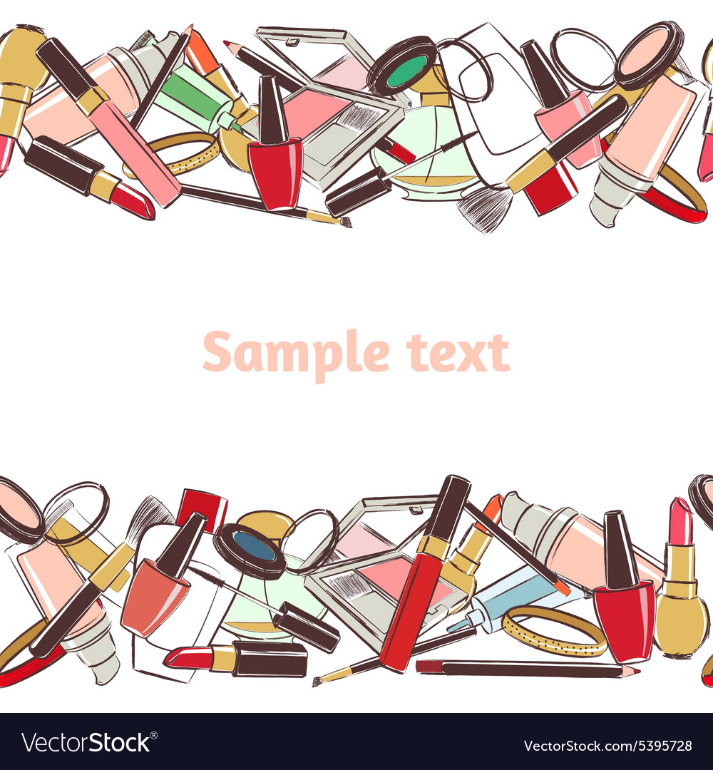 Seamless horizontal pattern make up and cosmetic vector