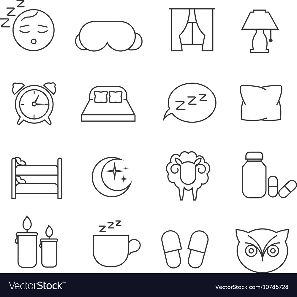 Sleeping bed time rest thin line outline vector