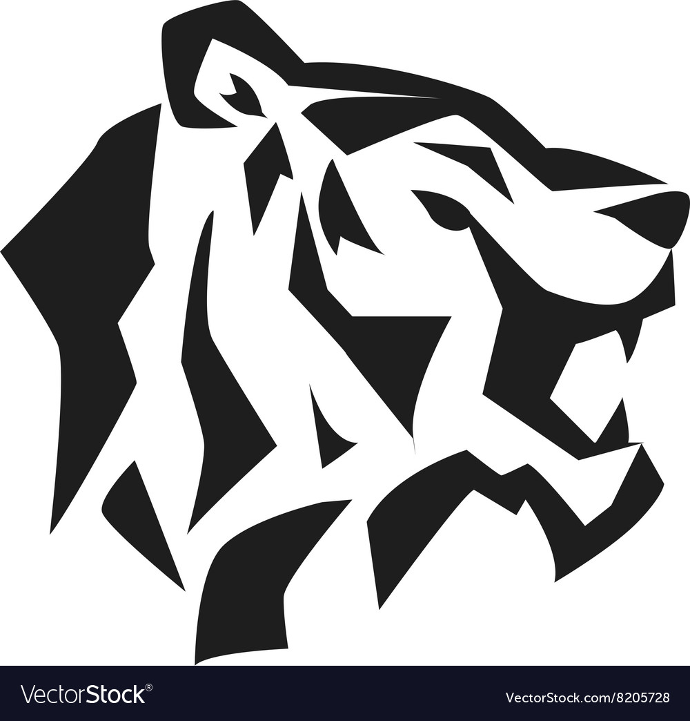 Tiger face head silhouette wild animal vector