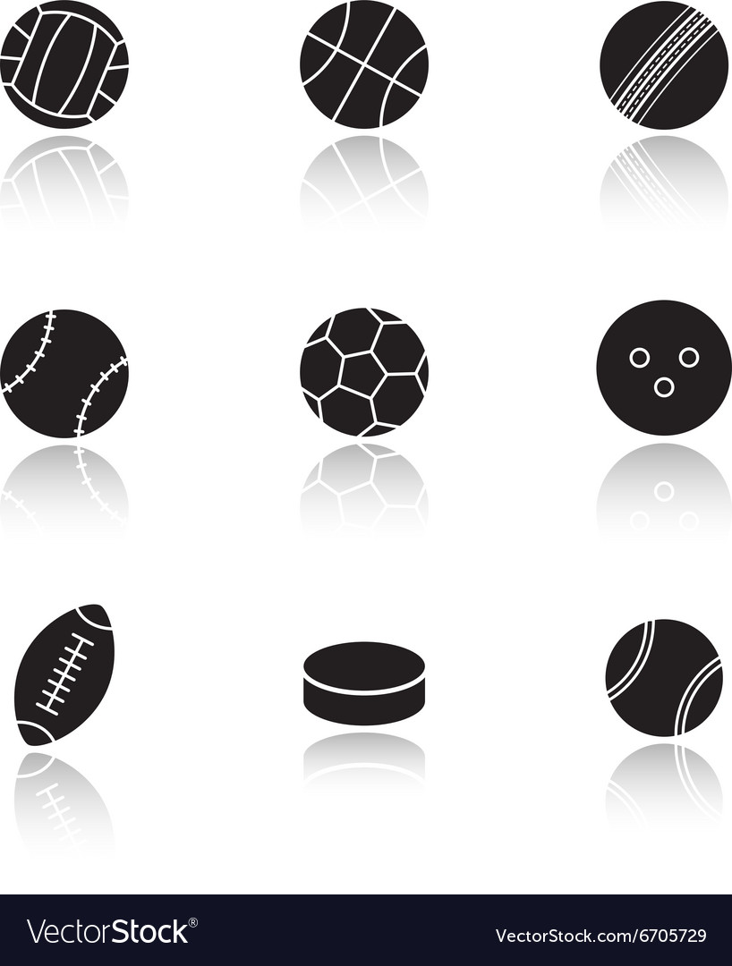 Different sports game balls black vector