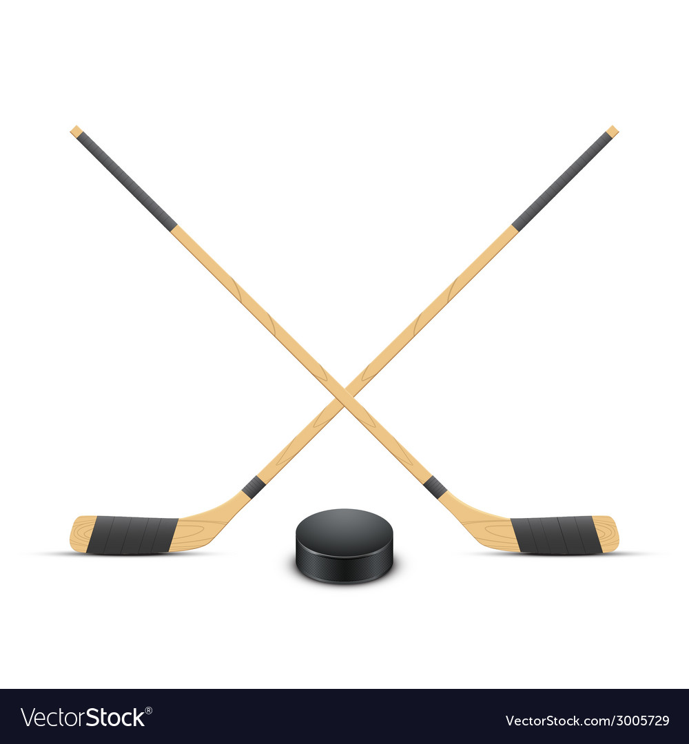 Ice hockey puck and sticks vector