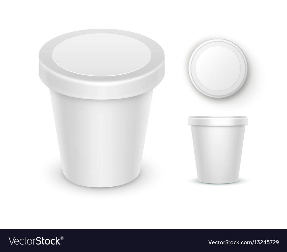 Set of bucket container for dessert ice cream vector