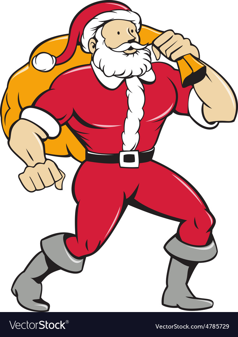 Super santa claus carrying sack isolated cartoon vector