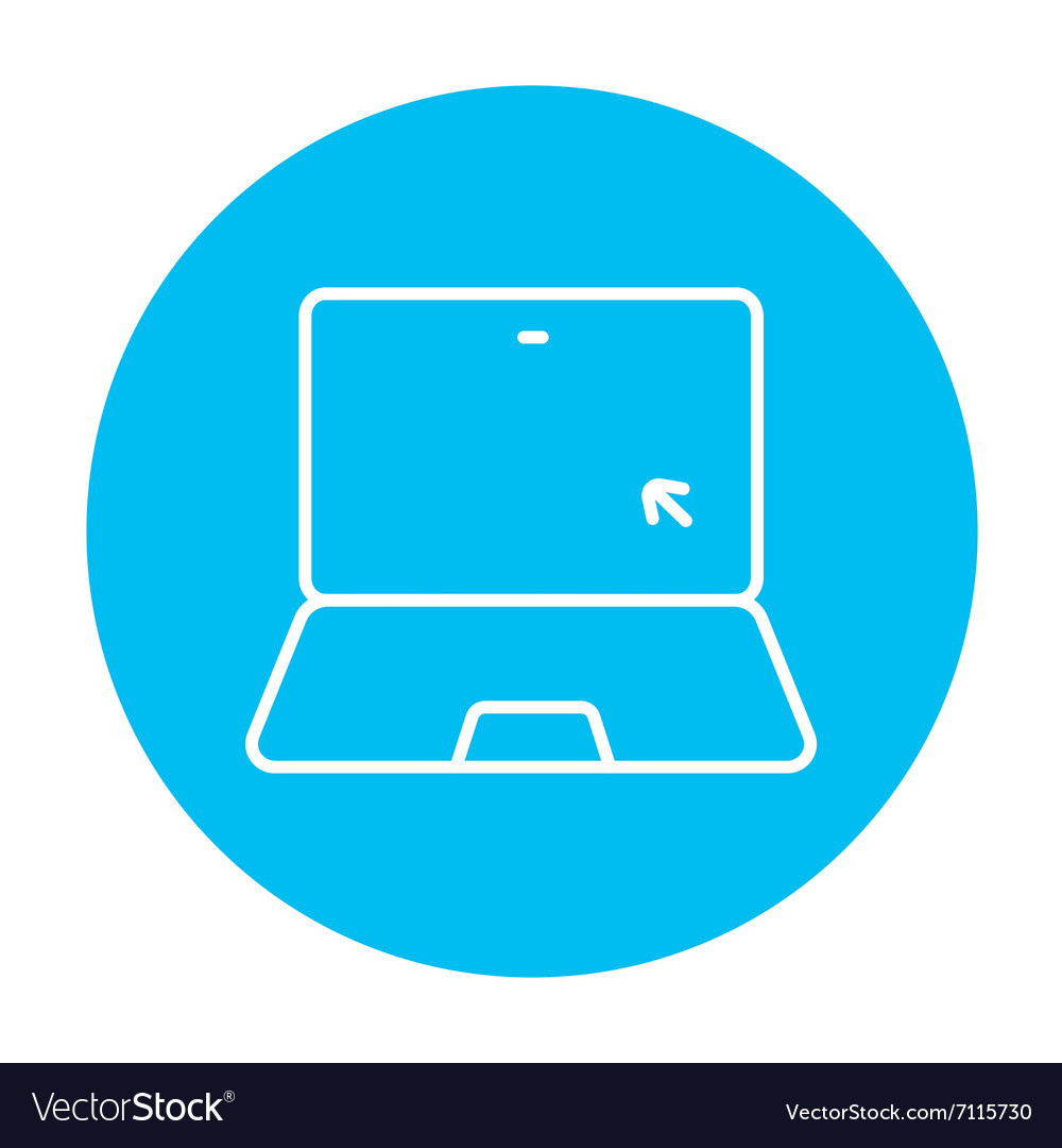 Laptop with cursor line icon vector
