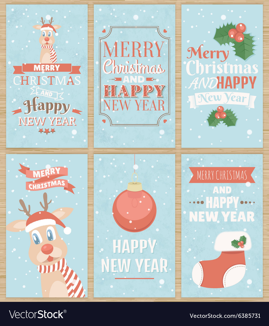 Set of six christmas greeting cards vector
