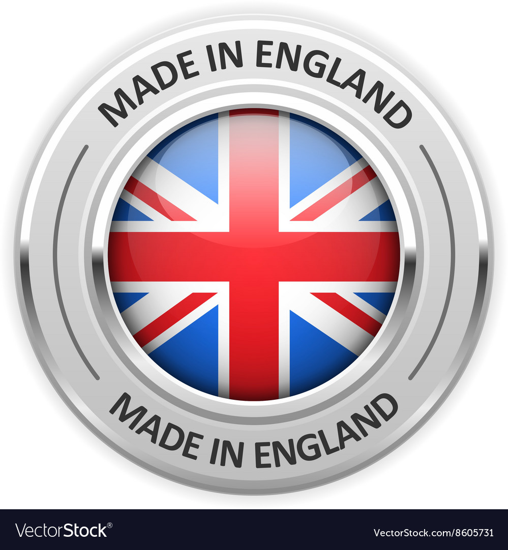 Silver medal made in england with flag vector
