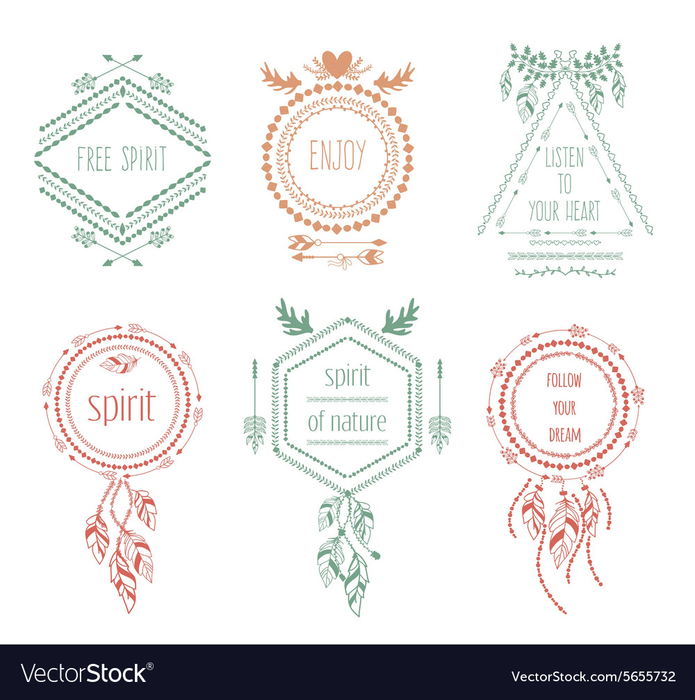 Boho tribal hipster labels vector