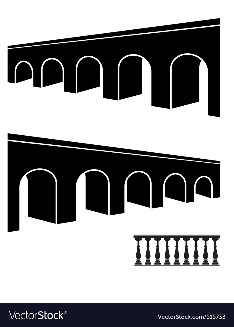 Bridge black silhouettes vector