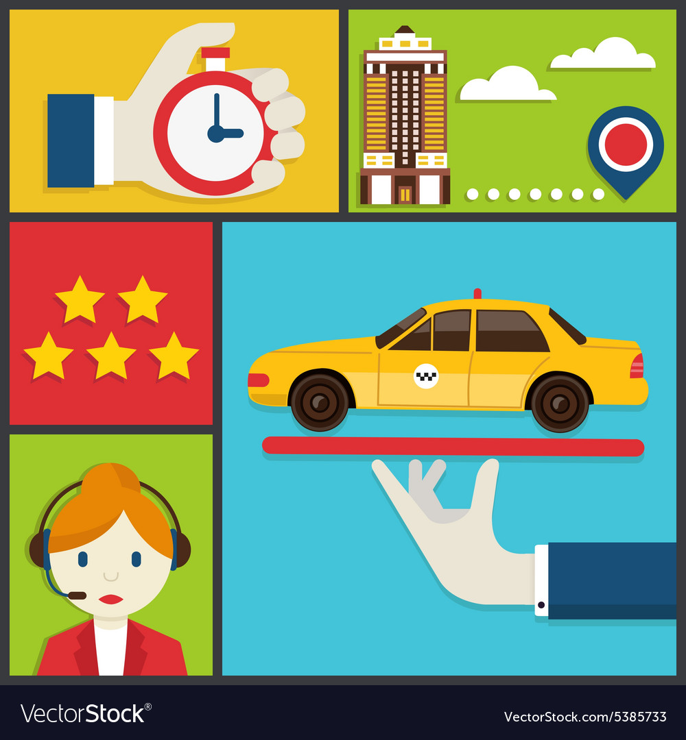Flat concept of order taxi vector