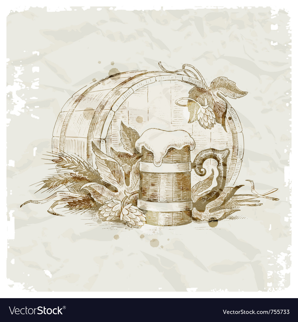 Hand drawn beer still life vector
